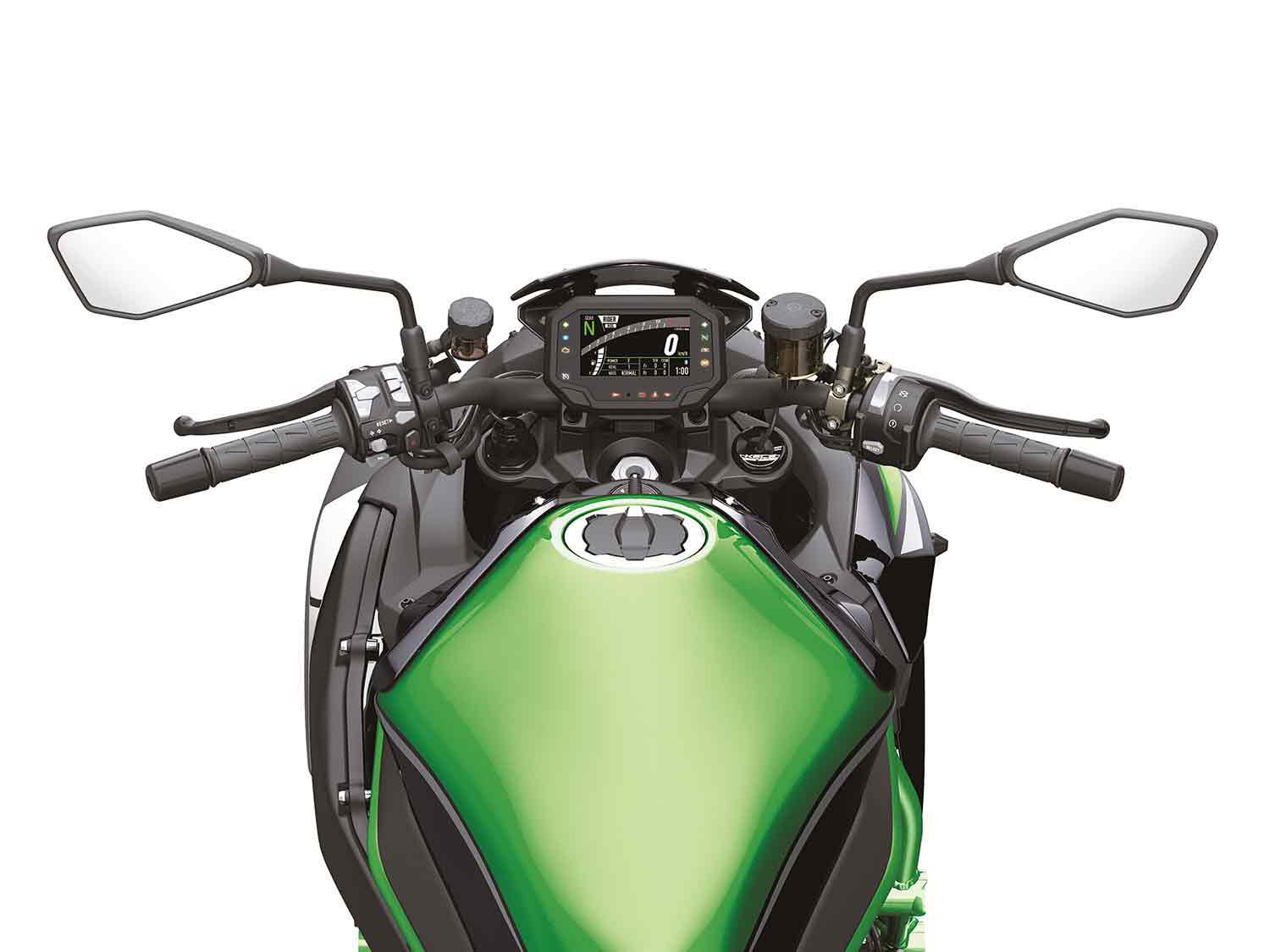 In SE guise, the Z H2 comes in Golden Blazed Green paired with Metallic Diablo Black.