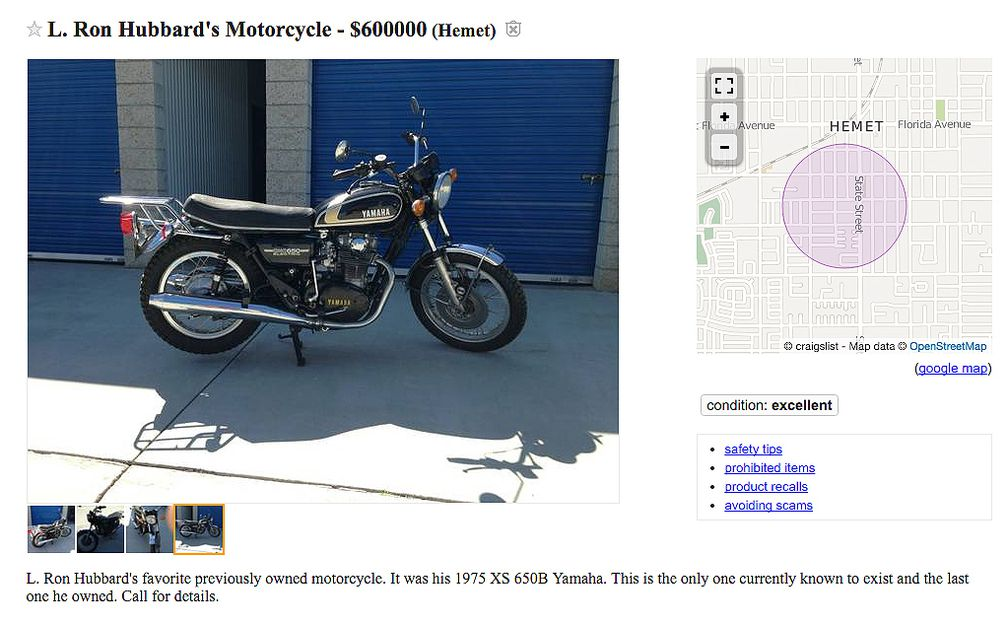 Scientologist L  Ron Hubbard's Classic Yamaha Selling for $600,000