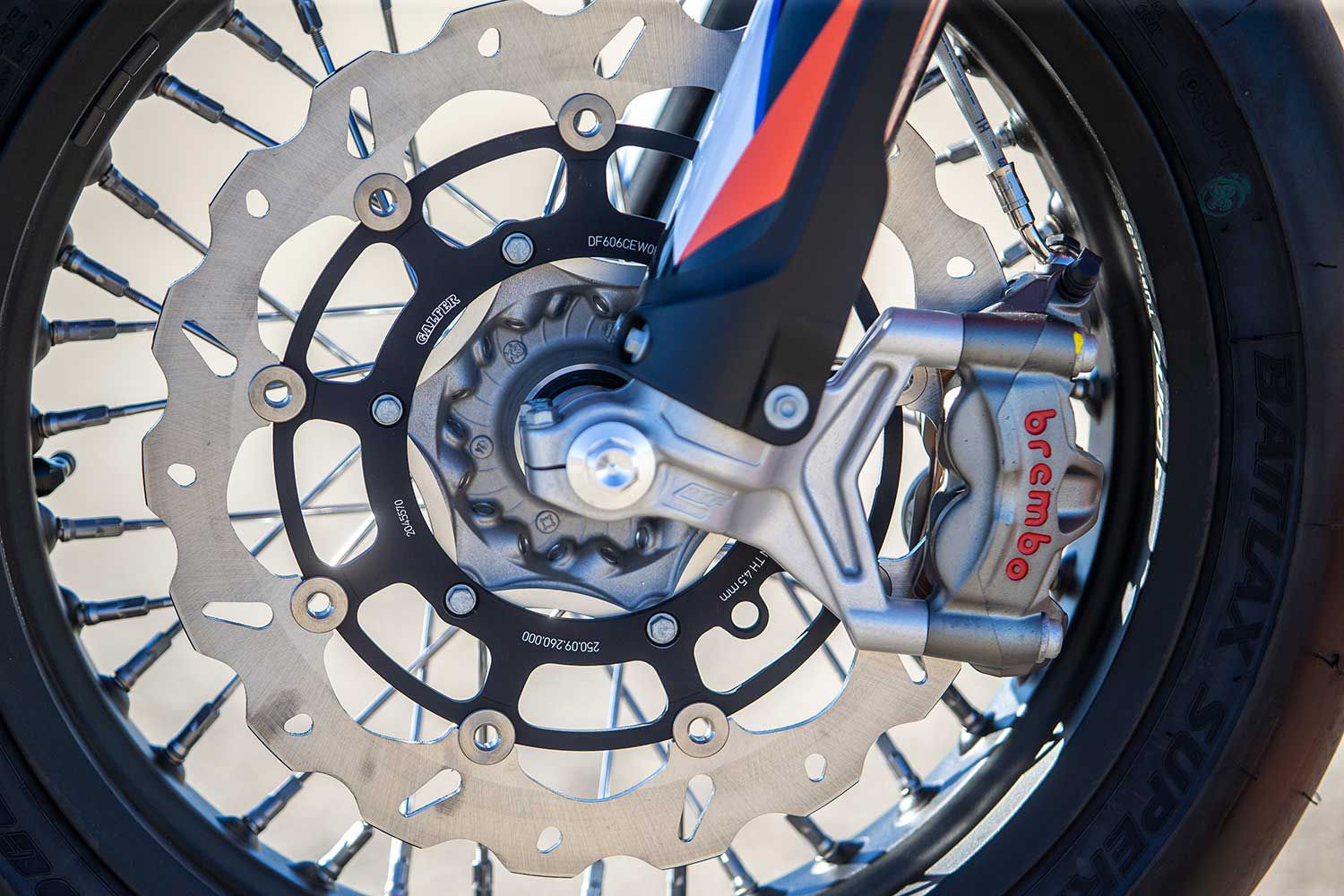 A streetbike-sized front disc brakes does a fine job of shedding speed. The brake pad material has more bite than before with consistent, fade-free performance lap after lap.