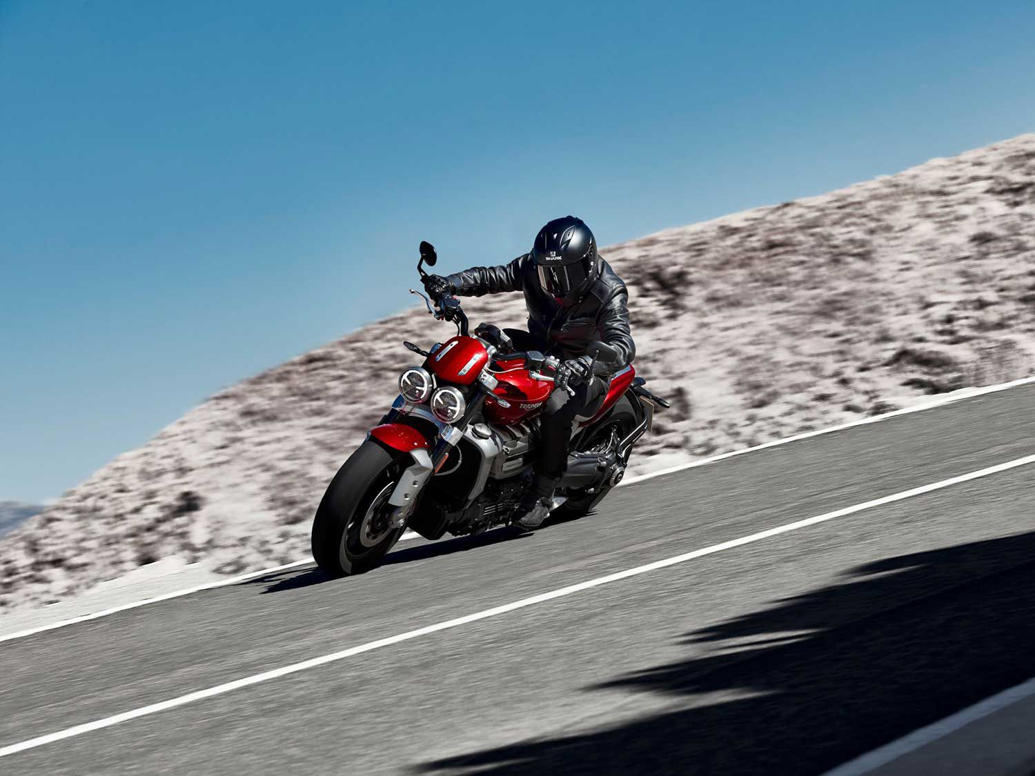 Available lean angle in corners appears to be generous for bikes of the Rocket's ilk. We'd like to round up a Ducati Diavel 1260 and a Yamaha VMAX for a musclebike shootout when the Rocket 3 hits our shores in January.