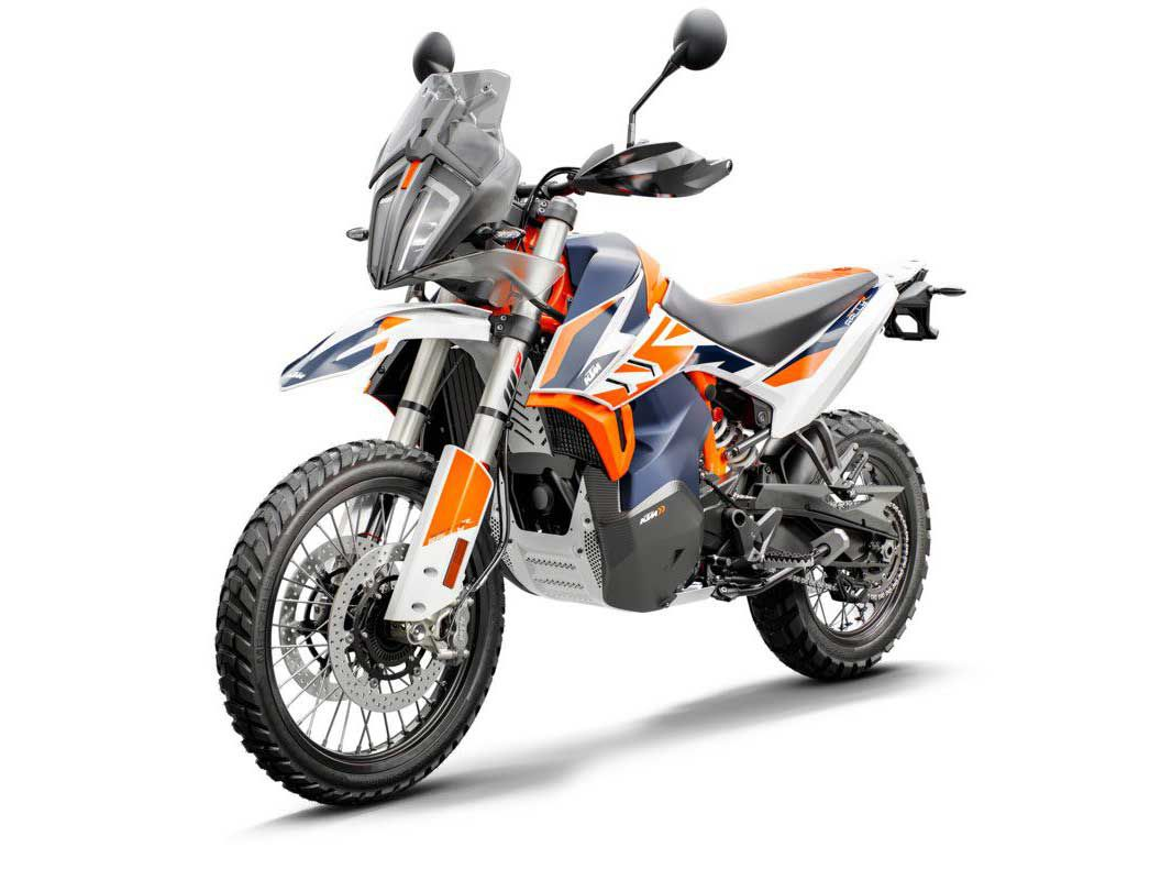 KTM shows off a long-travel suspension-equipped 790 Adventure R Rally edition at the 2019 EICMA motorcycle show.