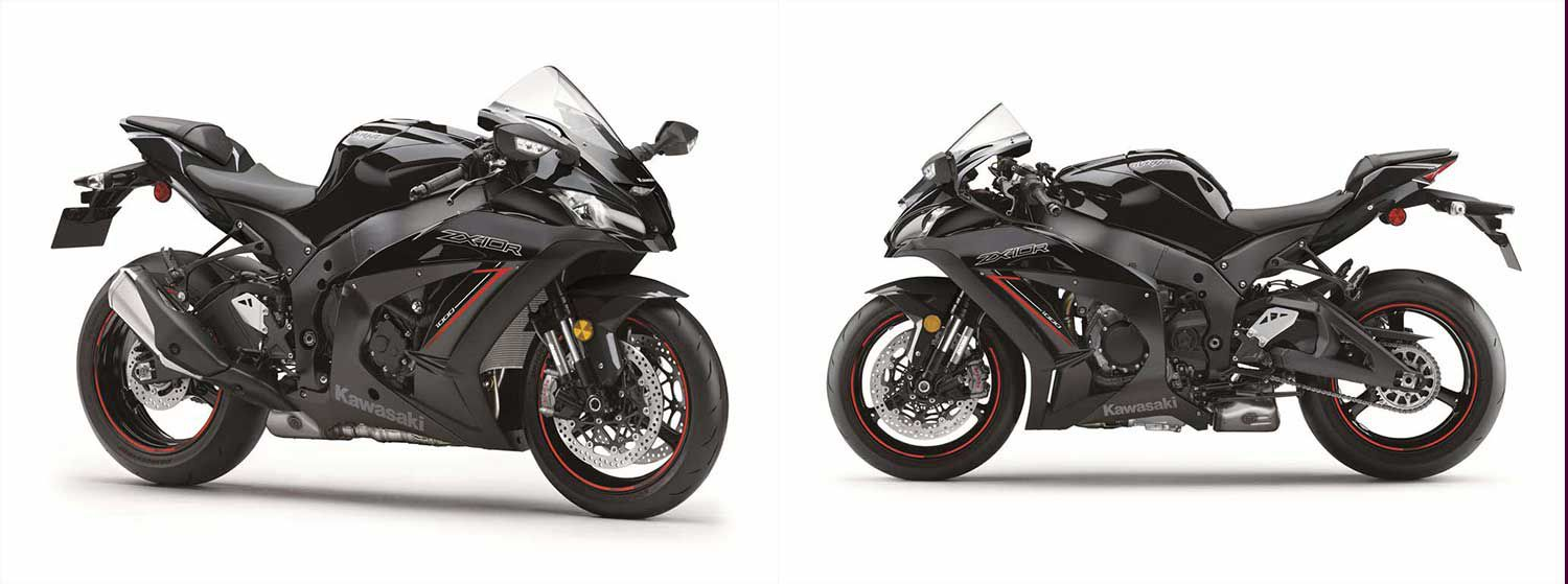<strong>Left:</strong> The 2020 Ninja ZX-10R features an upper cowl that resembles the factory World Superbike machine. It reduces drag and provides excellent wind deflection. <strong>Right:</strong> Developed with Showa for the World Superbike Championship, the Balance Free Fork (BFF) is complemented by Showa's latest rear shock, the Balance Free Rear Cushion (BFRC), to provide track riders the best-handling ZX-10R ever.