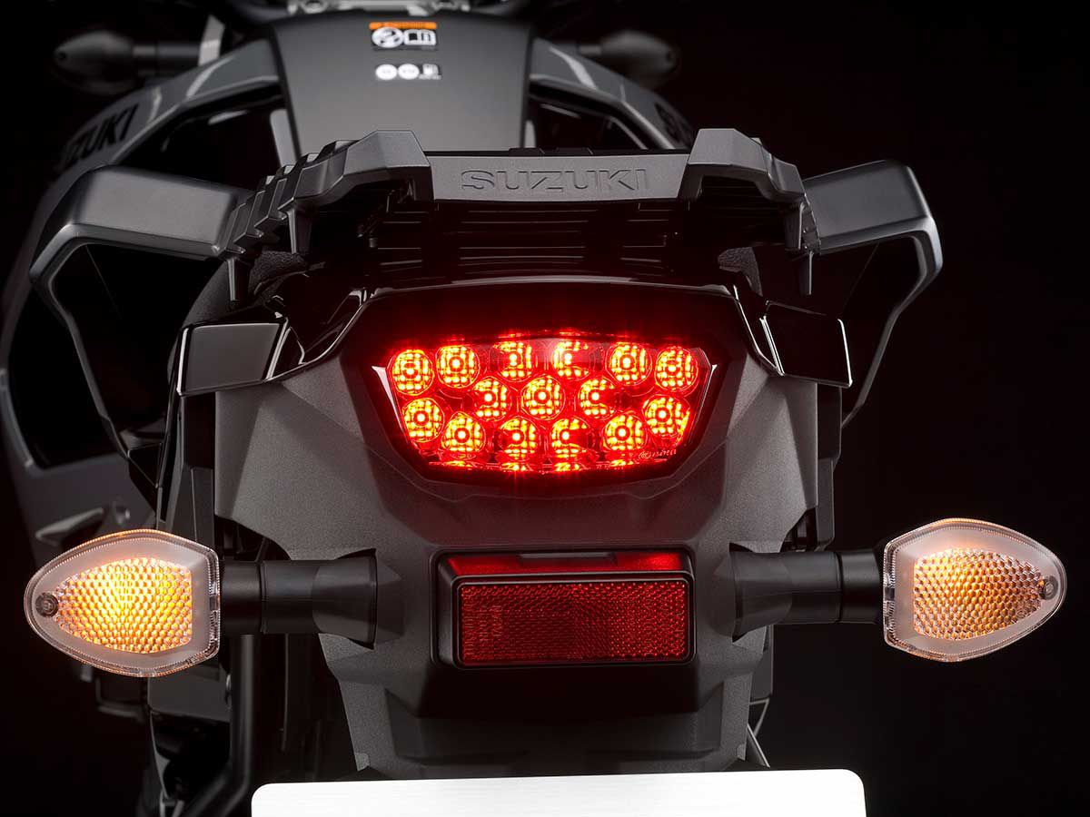 The 2020 V-Strom 1050XT uses lightweight, low-draw LED turn signals and lights that are brighter than the previous model.