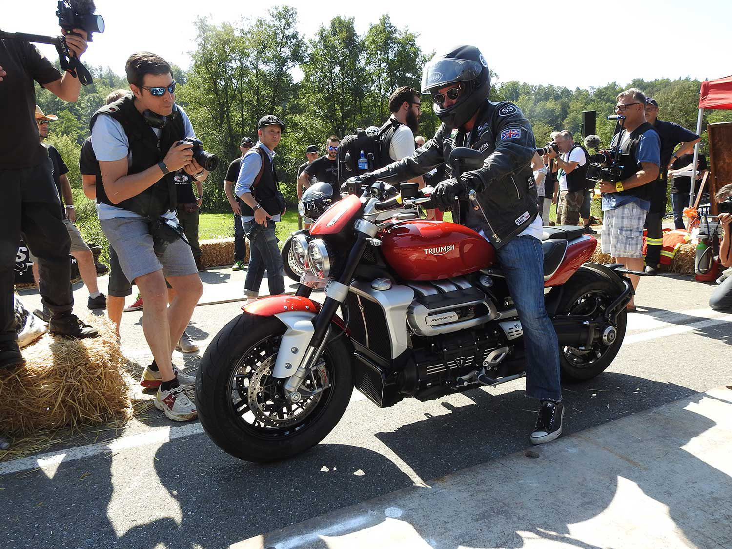 Triumph's new 2,500cc Rocket was on show in Germany for the first time and getting ready for its maiden demo run.