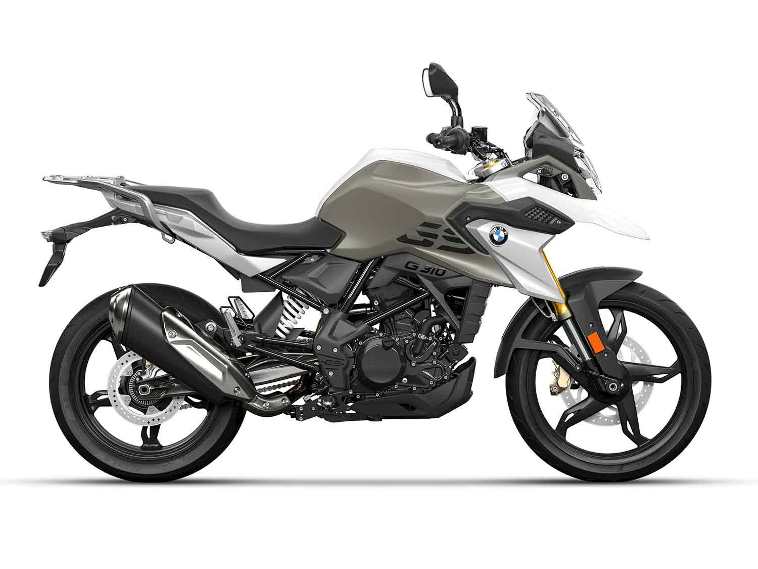 2021 BMW G 310 GS in white and gray.