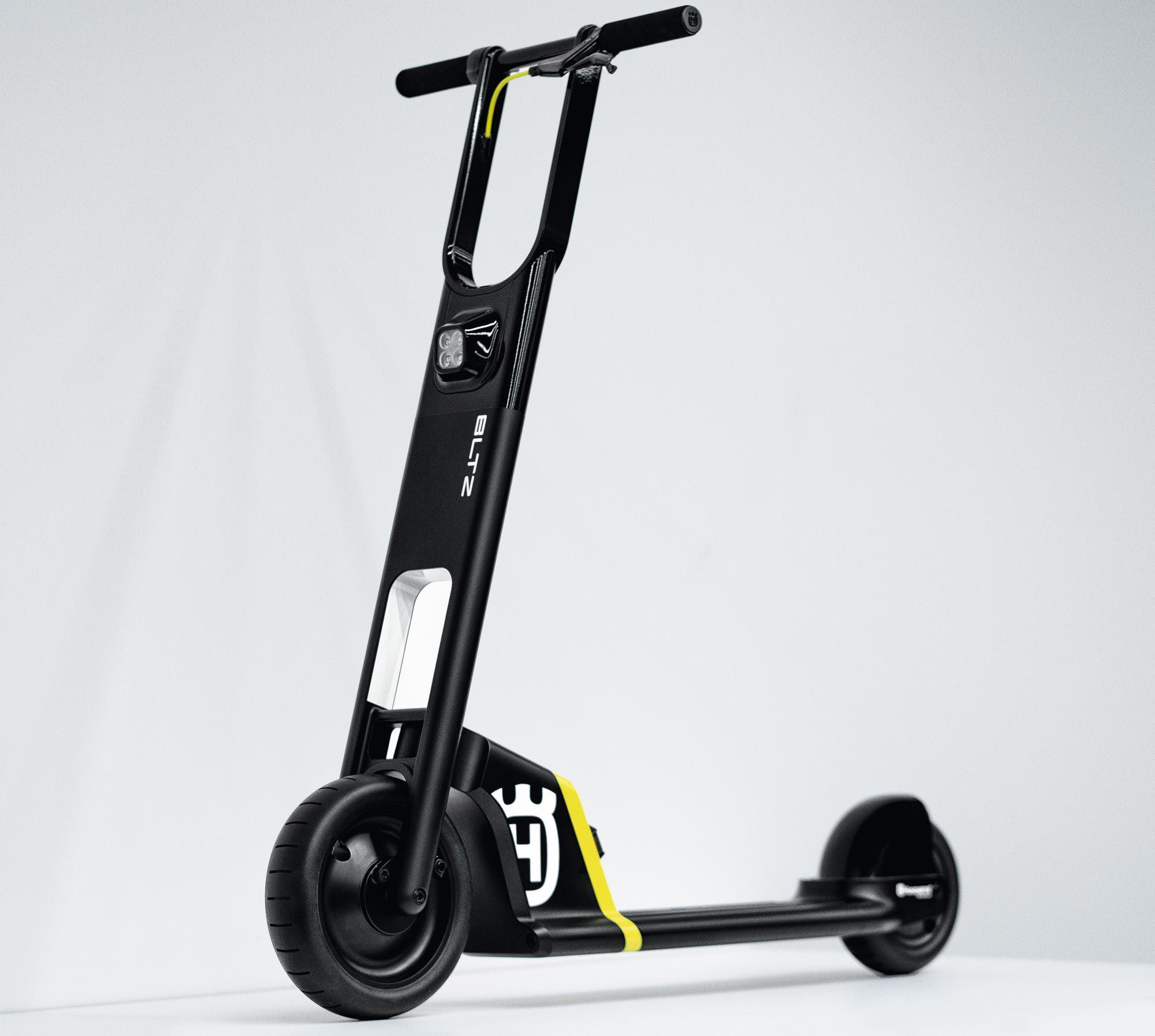 De Bltz is een concept van een elektrische step waar Husqvarna op kan staan en hoopt berijders in drukke stedelijke gebieden te kunnen aanspreken.