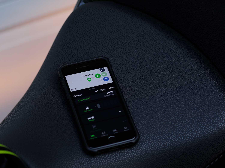 Smartphone users can access vehicle information via Kawasaki's iOS-compatible Rideology app.