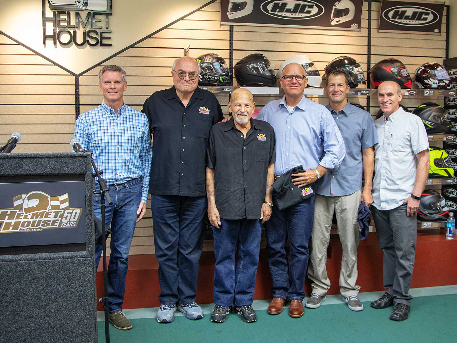 Helmet House founders Bob Miller and Phil Bellomy are joined by the new ownership group consisting of Dave Bertram, Scott Link, Don Becklin, and Randy Hutchings.