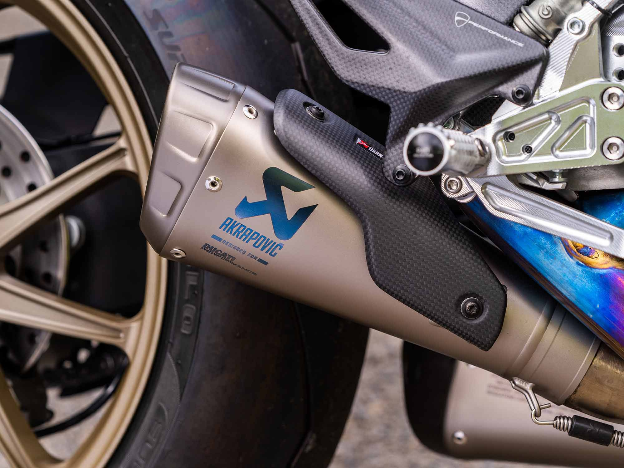 The sound that emits from this twin-muffler Akrapovič titanium exhaust is pure ecstasy. It is a tad loud, however, for use in urban areas.