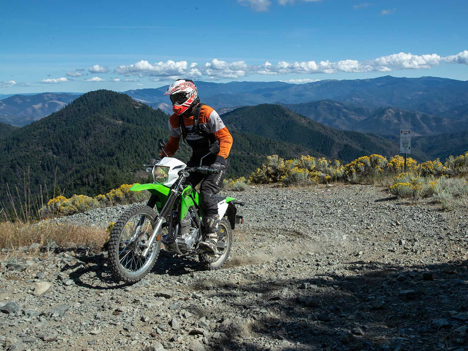 "Jacksonville, Oregon, provided a beautiful backdrop for our three-pronged evaluation. <a href=""https://www.motorcyclistonline.com/2020-kawasaki-klx230-klx230r-klx300r-first-ride-review/"">Read the full review »</a>"