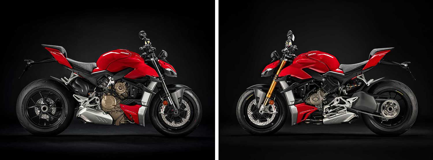 <strong>Left:</strong> The minimalist bodywork bolted to the Streetfighter V4 reveals the unique look of the front frame and Desmosedici Stradale engine which creates the unique look of the latest-generation Streetfighter. <strong>Right:</strong> The latest-generation electronics package offered on the Streetfighter V4 is based on a six-axis Inertial Measurement Unit (6D IMU) which detects the bike's roll, yaw, and pitch.