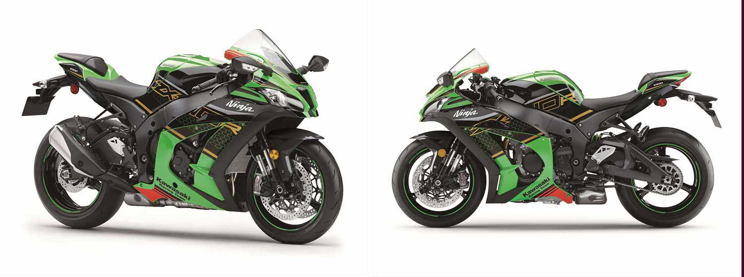 <strong>Left:</strong> The 2020 Ninja ZX-10R is available in a Metallic Spark Black/Metallic Flat Spark Black color scheme or in a KRT edition Lime Green/Ebony. <strong>Right:</strong> The 2020 Ninja ZX-10R utilizes finger follower valve train that was designed by Kawasaki's World Superbike Championship-winning race team allows for aggressive cam profiles. This allows the valves to open and close rapidly for increased performance.