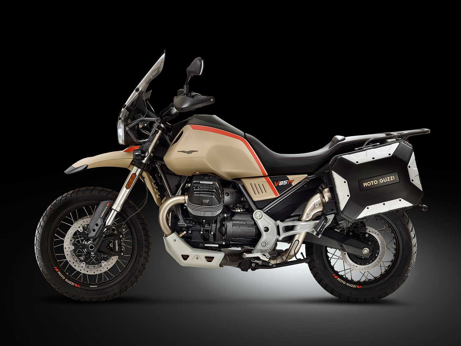<h2>2020 Moto Guzzi V85 TT Travel</h2> </br> Panniers, a high windshield, and heated hand grips come standard on the 2020 Moto Guzzi V85 TT Travel.