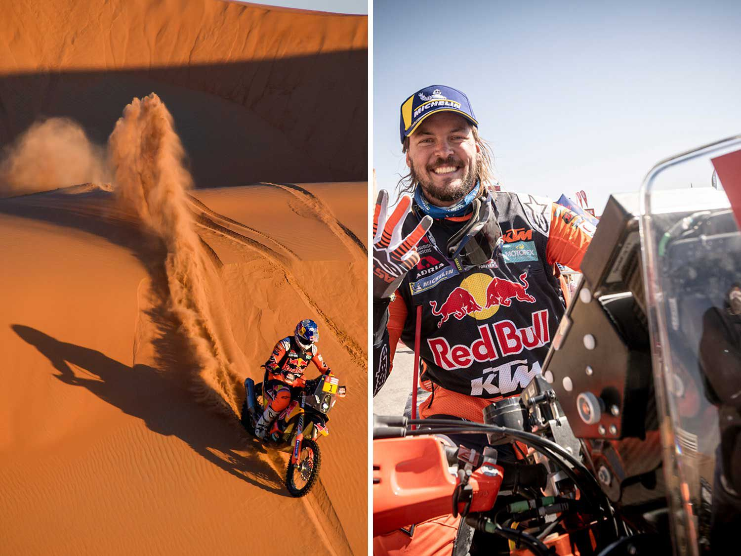 <strong>Left:</strong> Toby Price on his KTM of the Red Bull KTM Factory Team is being chased by the helicopter during Stage 4 of the Dakar Rally, between Neom and Al-'Ula. <strong>Right:</strong> Red Bull KTM Factory rider Toby Price (Australia) at the finish line of 2020 Dakar Rally.