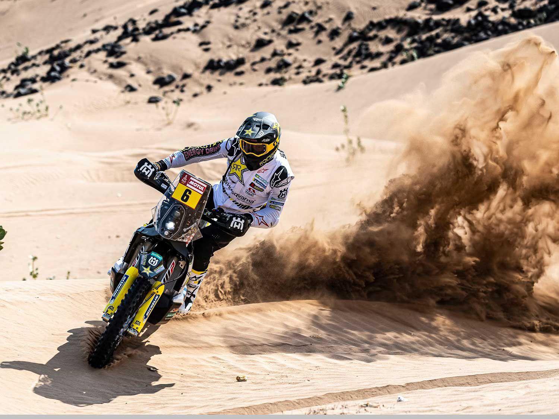 Rockstar Husqvarna's Andrew Short rides along a canyon during Stage 9 of the Dakar Rally between Wadi al-Dawasir and Haradh.