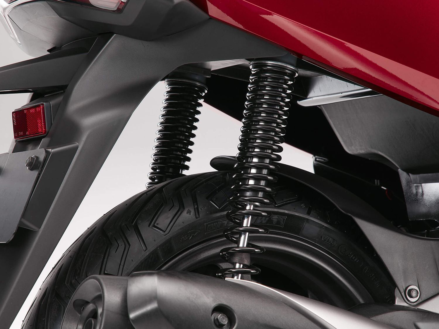 The twin shocks allow for 3.3 inches of travel.