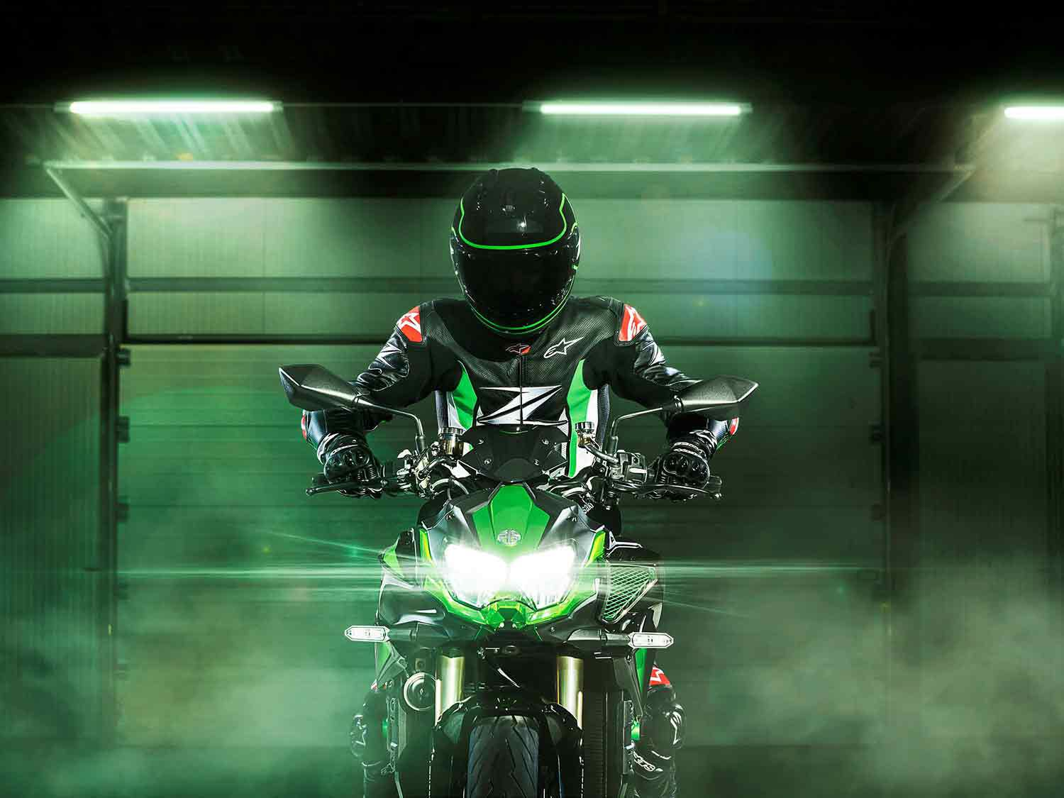 For 2021, Kawasaki has added a trick electronic self-adjusting suspension package from Showa to the already impressive Z H2 hyper naked.