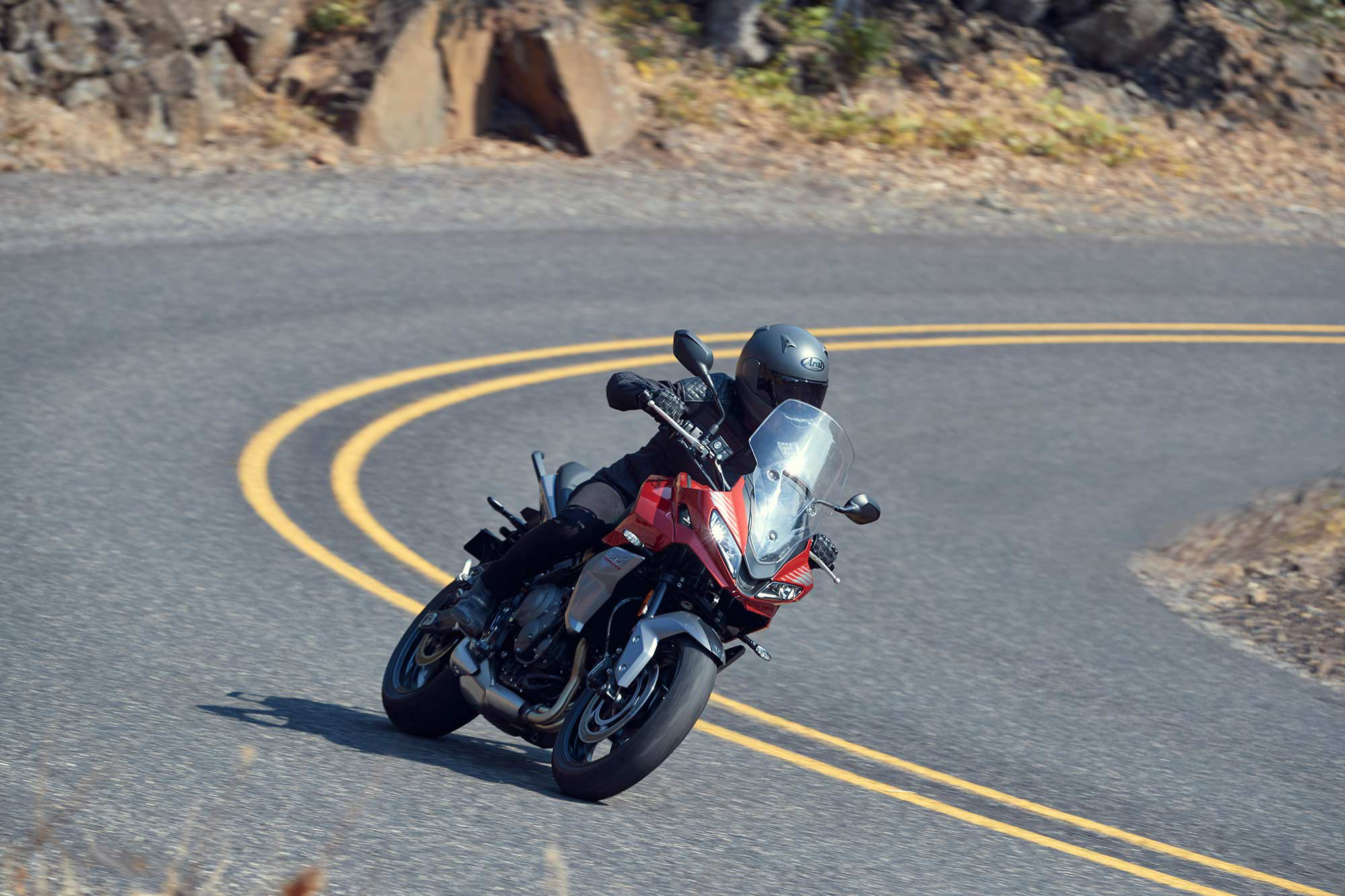 The new Tiger Sport 660 hedges its bet that Triumph's triple engine performance will give it an edge on the competition with its combination of torque, midrange performance, and peppy top-end power.