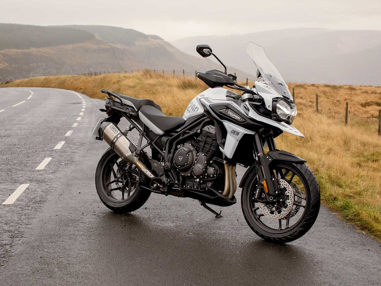 The 2020 Triumph Tiger Alpine Edition differs from the Desert thanks to the Snowdonia White paint job, street-oriented tires, and cast aluminum wheels.