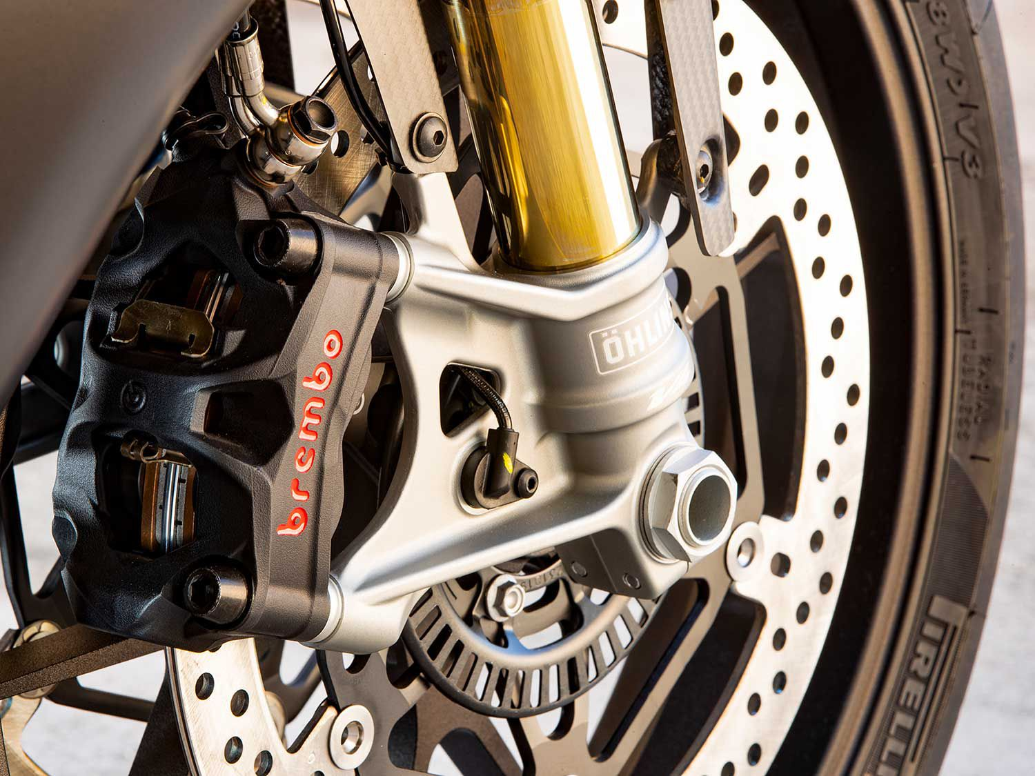 A pair of top-shelf Brembo Stylema calipers clamping to 330mm discs quickly bring this Aprilia to a halt, with great feel at the brake lever.