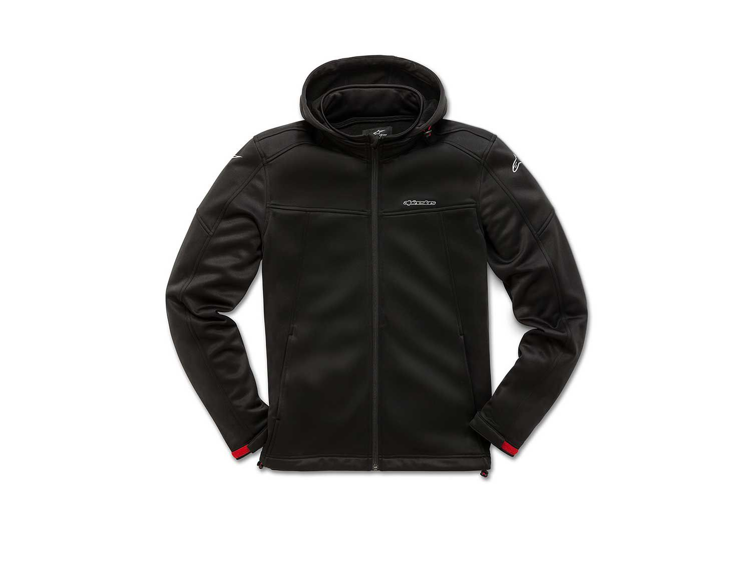 """The <a  href=""""https://www.amazon.com/Alpinestars-Stratified-Jackets-X-Large-Black/dp/B07GF53MH1/ref=as_li_ss_tl?ie=UTF8&linkCode=sl1&tag=mcy01-20&linkId=016098b3a1411c27877444fee74fea6a&language=en_US"""">Stratified Jacket</a> is a bonded micro-fleece jacket with a track-style collar and removable hood. There's a reverse coil zipper at the front, bungee adjusters at the hood and hem, along with Velcro adjustment tabs at the cuffs."""