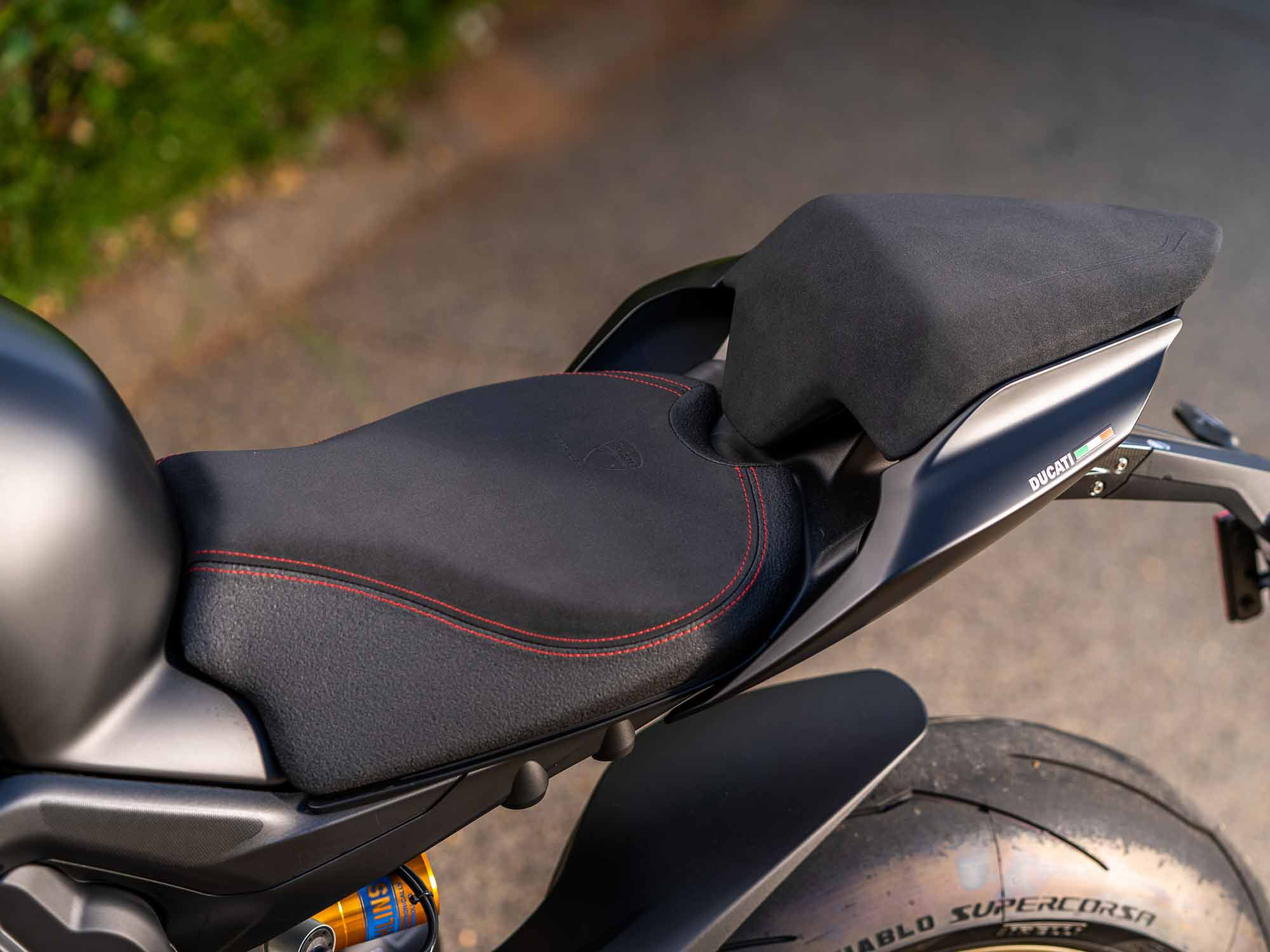 The accessory racing seat offers a surprising level of comfort. However, it's a tad too grippy for our taste. Short riders beware: It raises the seat height to just over 34 inches.