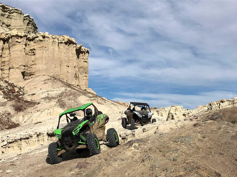 The Teryx seemed to enjoy the high-speed flat stuff beneath the red rock cliffs.