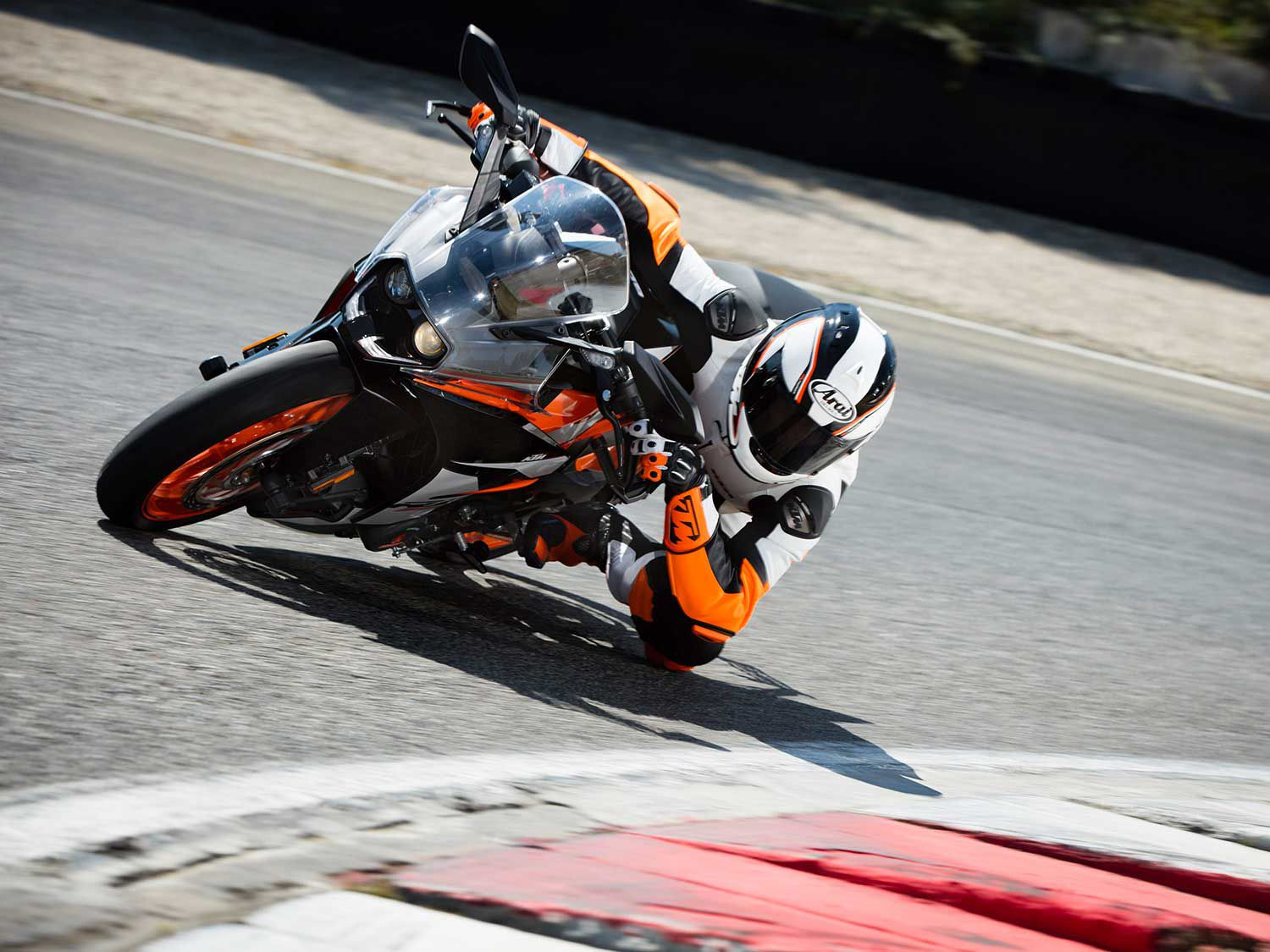 You won't be riding like this initially, but if you want to get there starting on a sport-styled starter bike, the KTM RC 390 is a good choice.