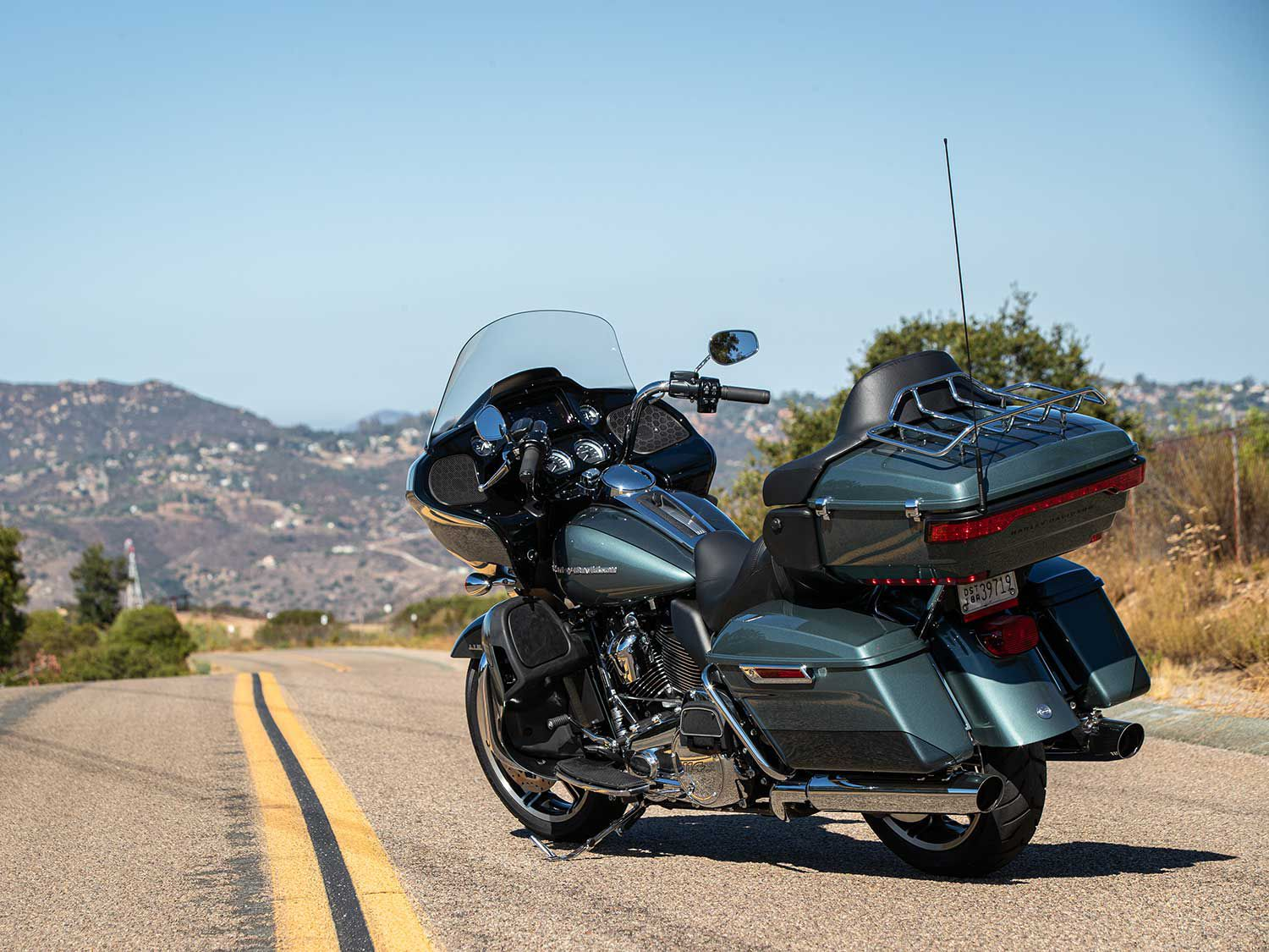 The 2020 Harley-Davidson Road Glide Limited in two-tone Silver Pine and Spruce.