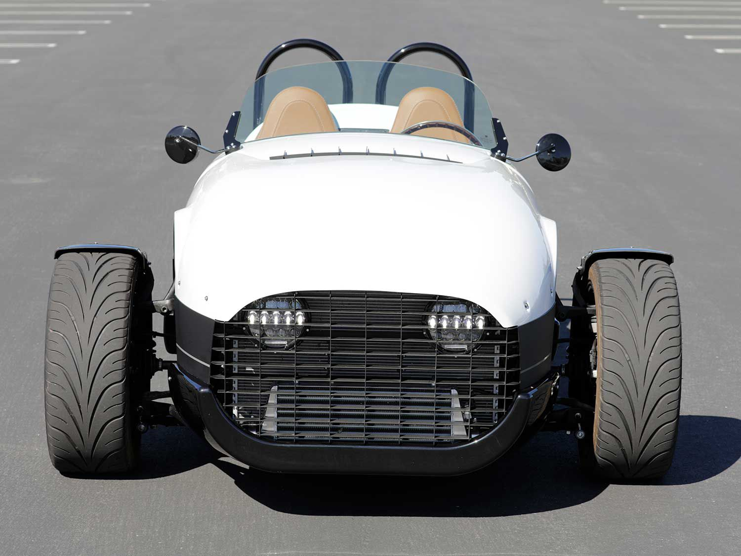 The Vanderhall Motor Works Venice GT can be driven in California without a motorcycle endorsement. However, driver and passenger are required to wear a DOT-labeled helmet.