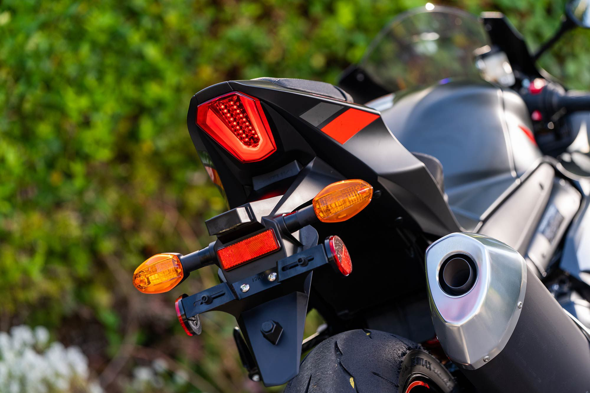 Its LED tail light is bright and helps the Suzuki rider stand out after dark. One gripe: we wish the turn signals were LED, too.