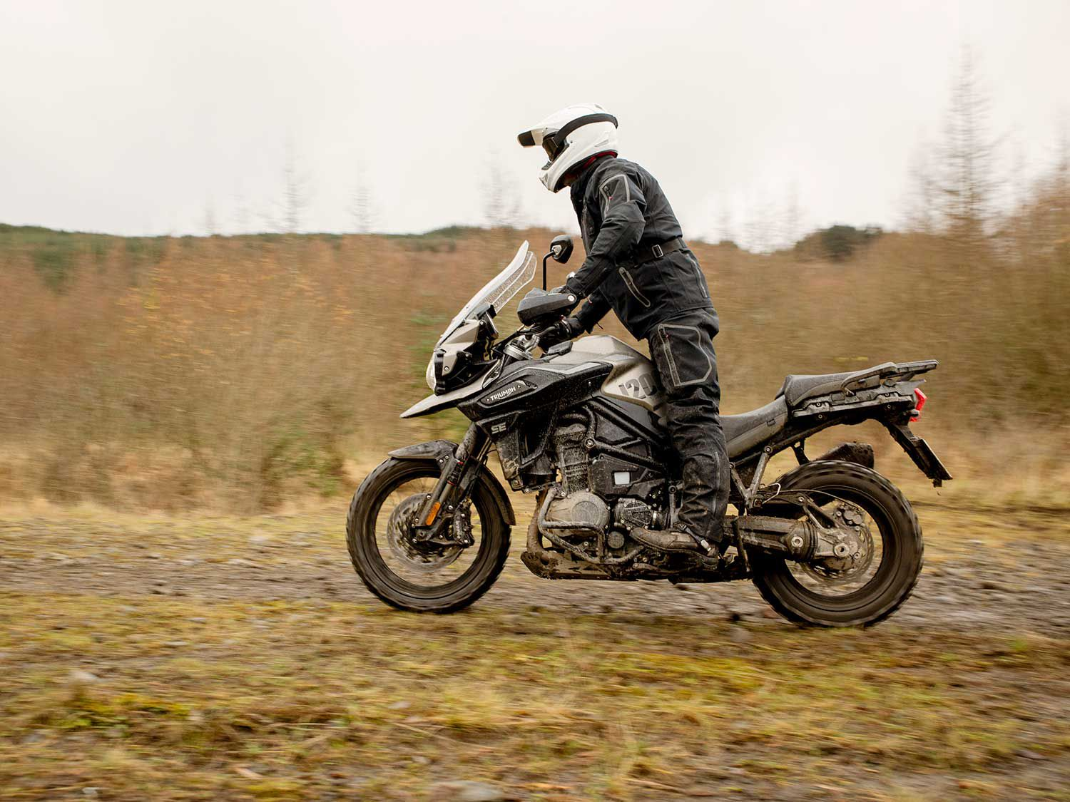 The Off-Road Pro riding mode is perfect for the 2020 Triumph 1200 Desert Edition because its off-road setting are tailored toward the needs of advanced off-road adventure, with ABS and traction control turned off, and an off-road throttle map.