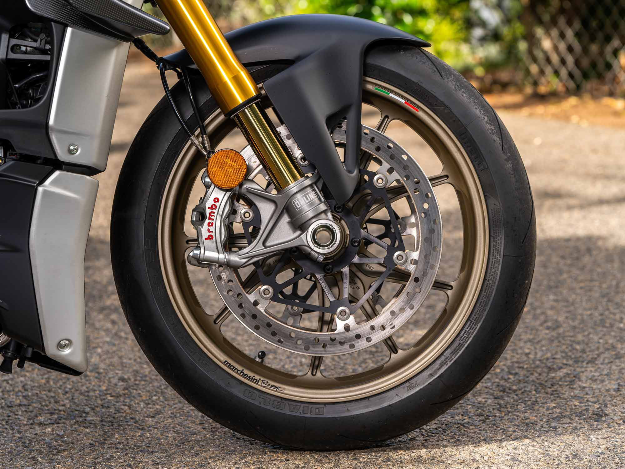 This Streetfighter V4 S project bike rolls on a set of forged magnesium wheels from Marchesini ($5,227.50). The wheels are 1.5 pounds lighter than the forged alloy setup on the V4 S.
