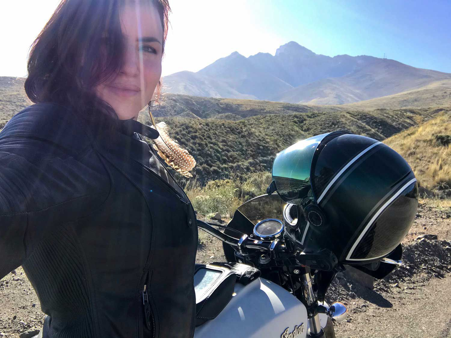 Author and her Indian Scout Sixty in the bright equatorial sun of the high Andes.