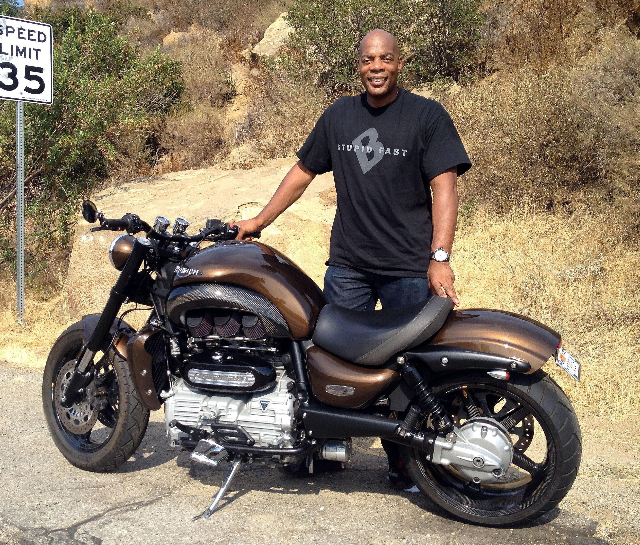 """<strong>Comedian Alonzo Bodden:</strong> Comedian Alonzo Bodden has made an appearance in """"Jay Leno's Garage,"""" and like Jay Leno, he has a personal collection of bikes as well. It isn't nearly as extensive as Leno's, but regardless, it's more than most of us will ever have in our garage. Back in 2013 we crossed paths with his Triumph Rocket III that you see here."""