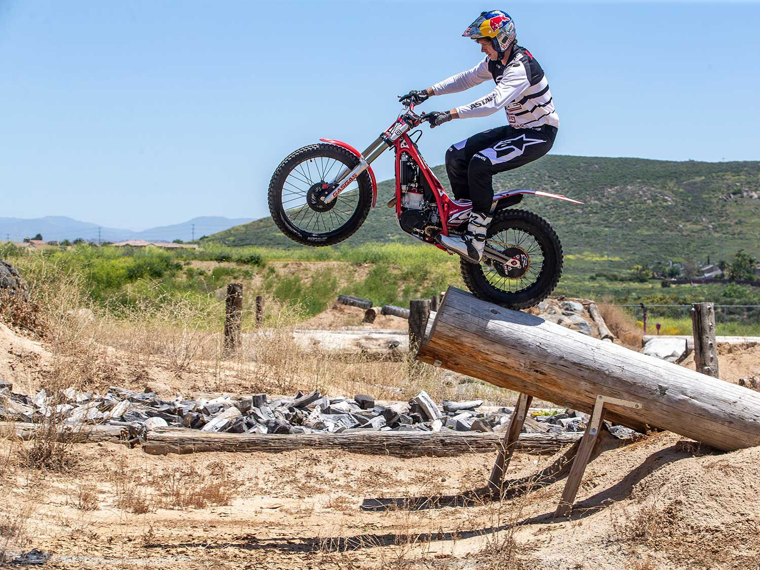 Multitime US trials champ, Geoff Aaron shows what a production GasGas trials bike is in a professionals hands.