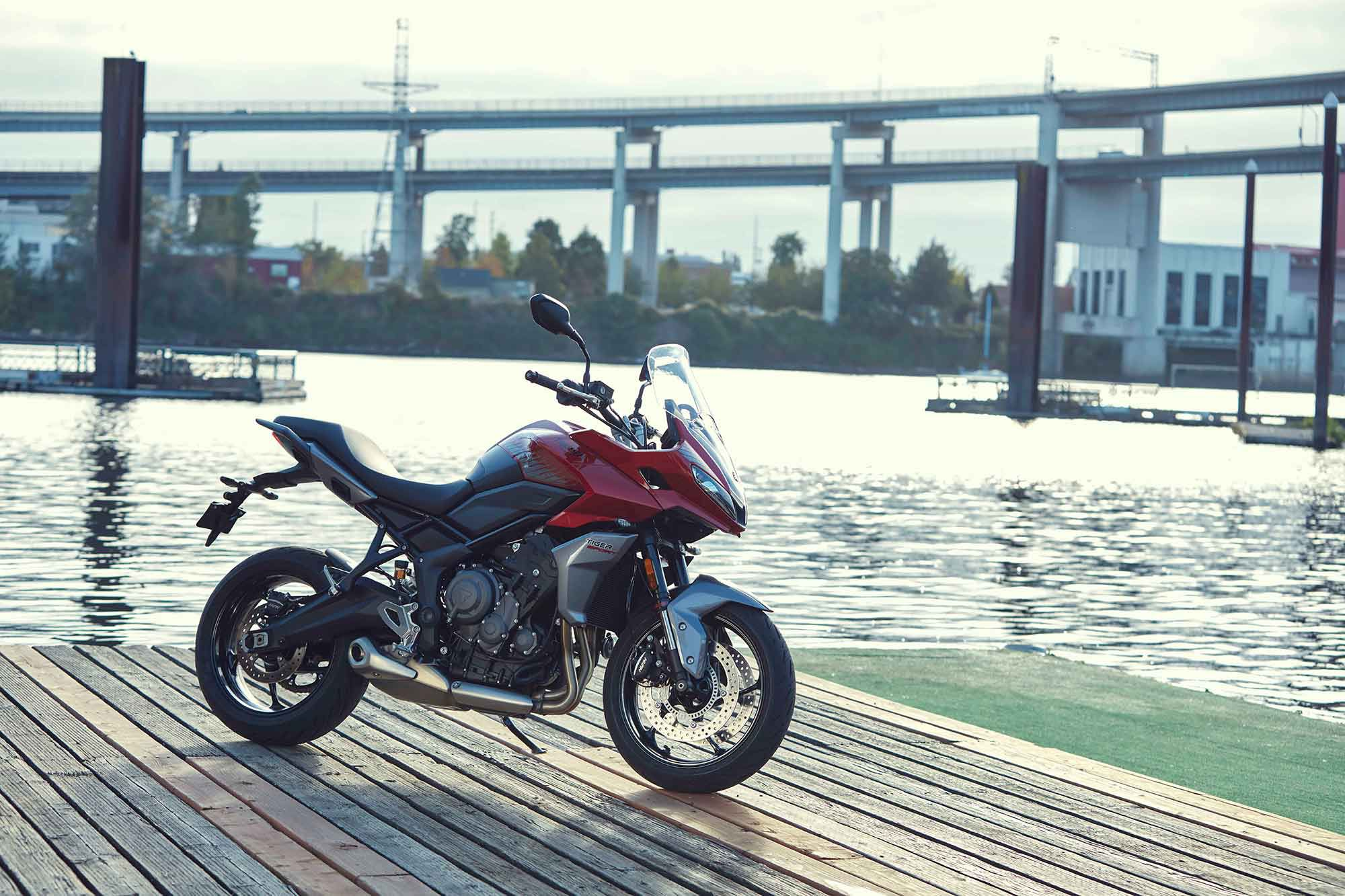The 2022 Triumph Tiger Sport 660 rolls on 17-inch five-spoke cast aluminum wheels shod with Michelin Road 5 tires.