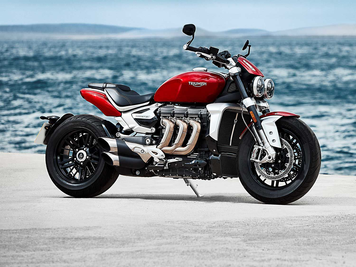 The 2020 Rocket 3 brings a new era to Triumph's Rocket line, a much sportier motorbike than the previous generation. An aluminum frame, single-sided swingarm, Brembo Stylema brakes, and beautiful metal finishes highlight this handsome monster.