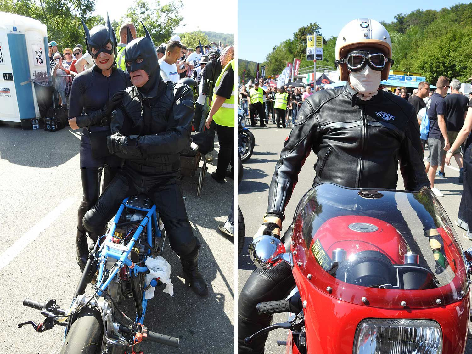 <strong>Left:</strong> This French couple rolled their Ducati racer in Batman suits into the Sultans of Sprint competitors paddock. <strong>Right:</strong> A Triumph café racer competitor looking like straight out of London's Ace Cafe.