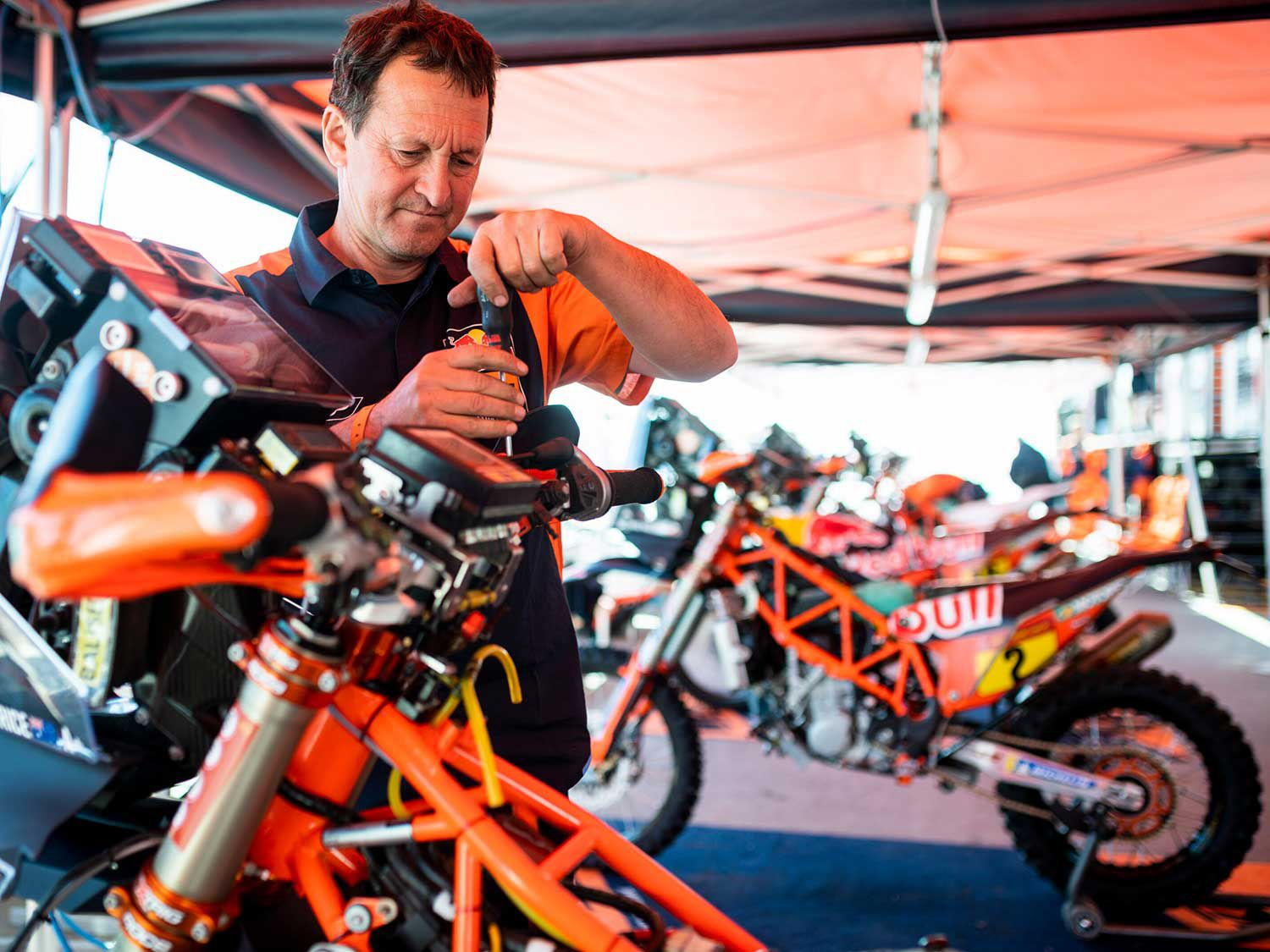 Here is a look behind the scenes of the Red Bull KTM Factory Team as a mechanic works on the bikes during the rest day of Dakar 2020 at Riyadh.