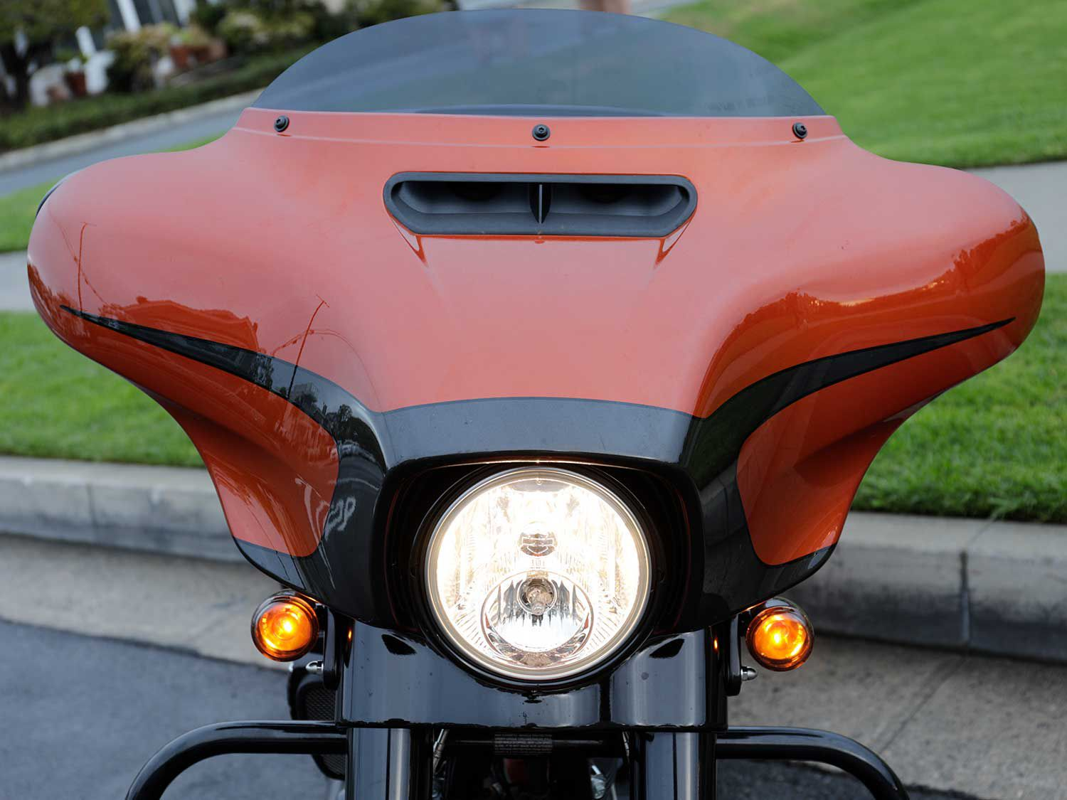 The Street Glide Special's batwing fairing is a key styling feature. Unlike the Road Glide's fixed fairing, this component moves with the handlebar.