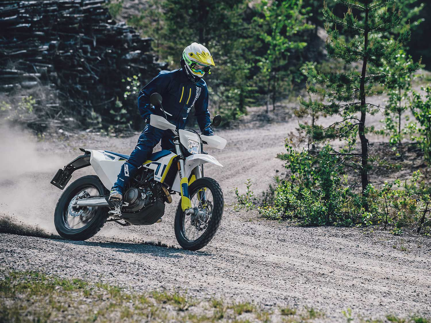<h2>2020 Husqvarna 701 Enduro</h2> </br> The 2020 Husqvarna 701 Enduro features electronic rider aids such as cornering ABS, lean-angle-sensitive traction control, two ride modes, and Easy Shift function.