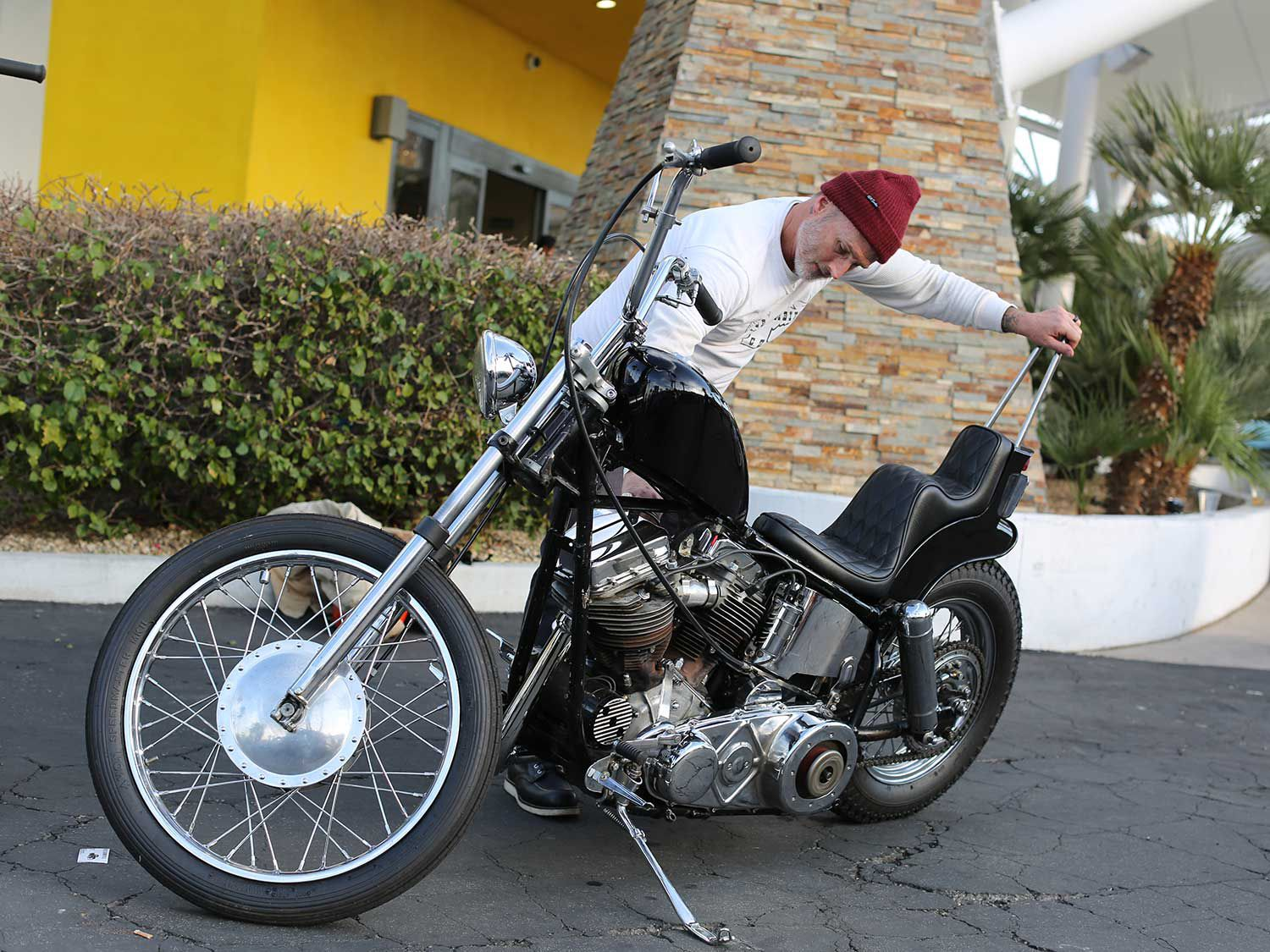 Crazy Frank-style Panhead chopper getting ready to leave the show for the night.