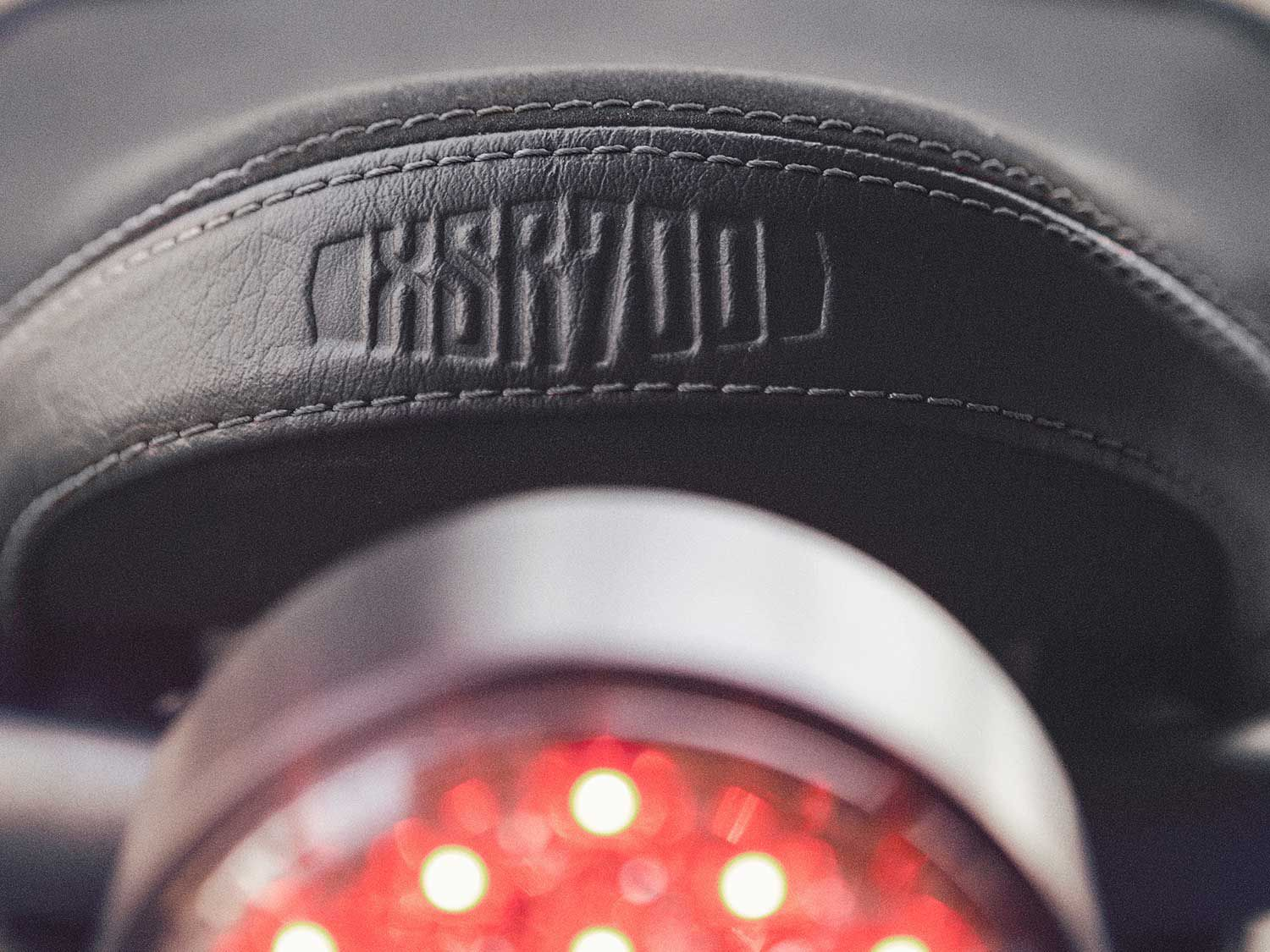 The classic round Yamaha taillight is all LED. Tasteful XSR700 logos appear throughout the bike.