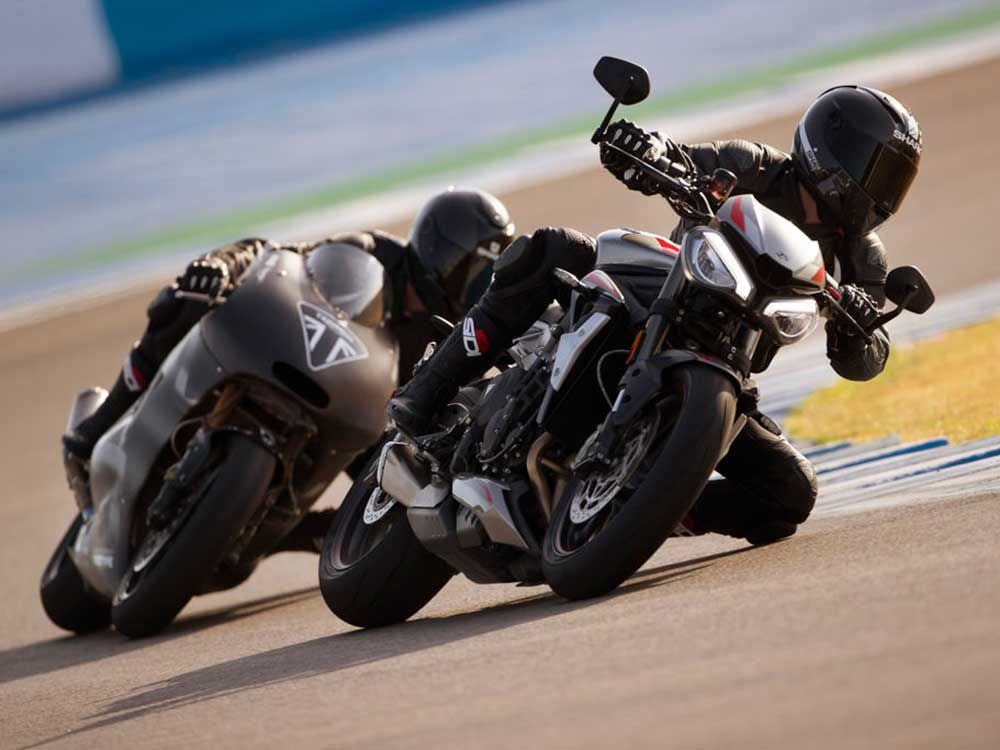 Triumph's Moto2 racebike chases down its street-roadster counterpart.