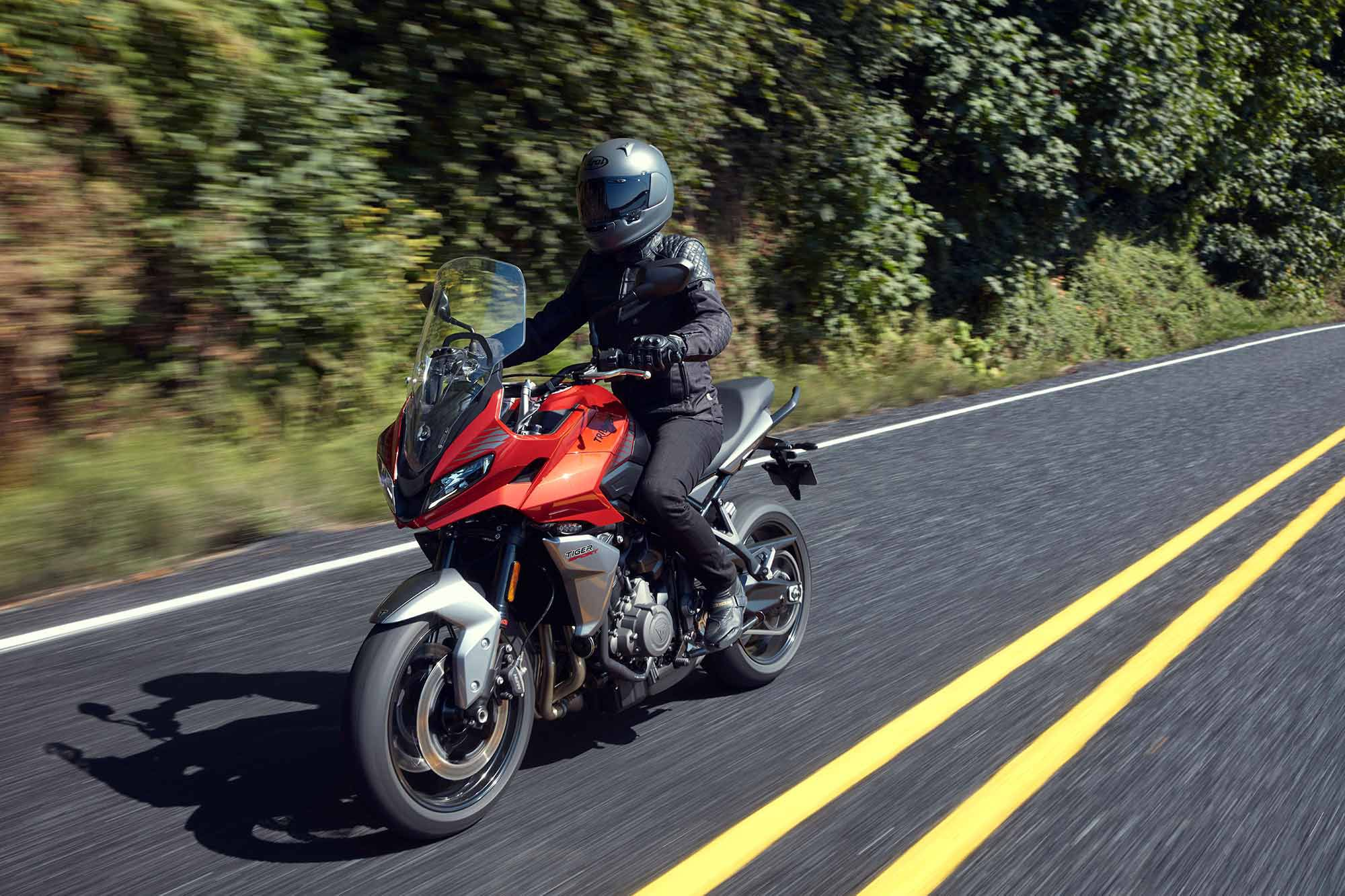 Power delivery is managed by Triumph's engine management system with ride-by-wire throttle control providing a precise and responsive feel.