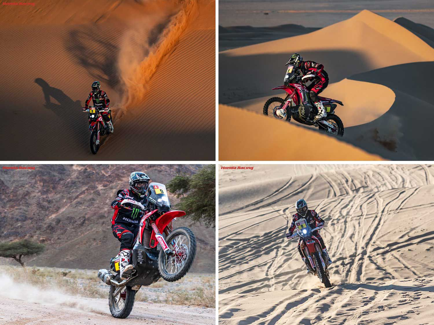 <strong>Clockwise from top left:</strong> Twenty-eight-year-old Brabec (USA) battling his way during the 2020 Dakar Rally, on board his Monster Honda CRF450X Rally; Monster Honda rider Brabec (USA) makes his way through the difficult deserts of Saudi Arabia during the 2020 Dakar Rally; Here is American Ricky Brabec on the way to winning the 2020 Dakar Rally. It is the first victory for Honda in 31 years and the first-ever win for an American rider.