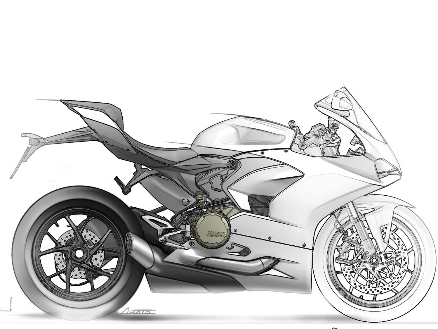 A late sketch of the Panigale V2. Too bad the MotoGP honeycomb grate over the exhaust outlet didn't make it to production.