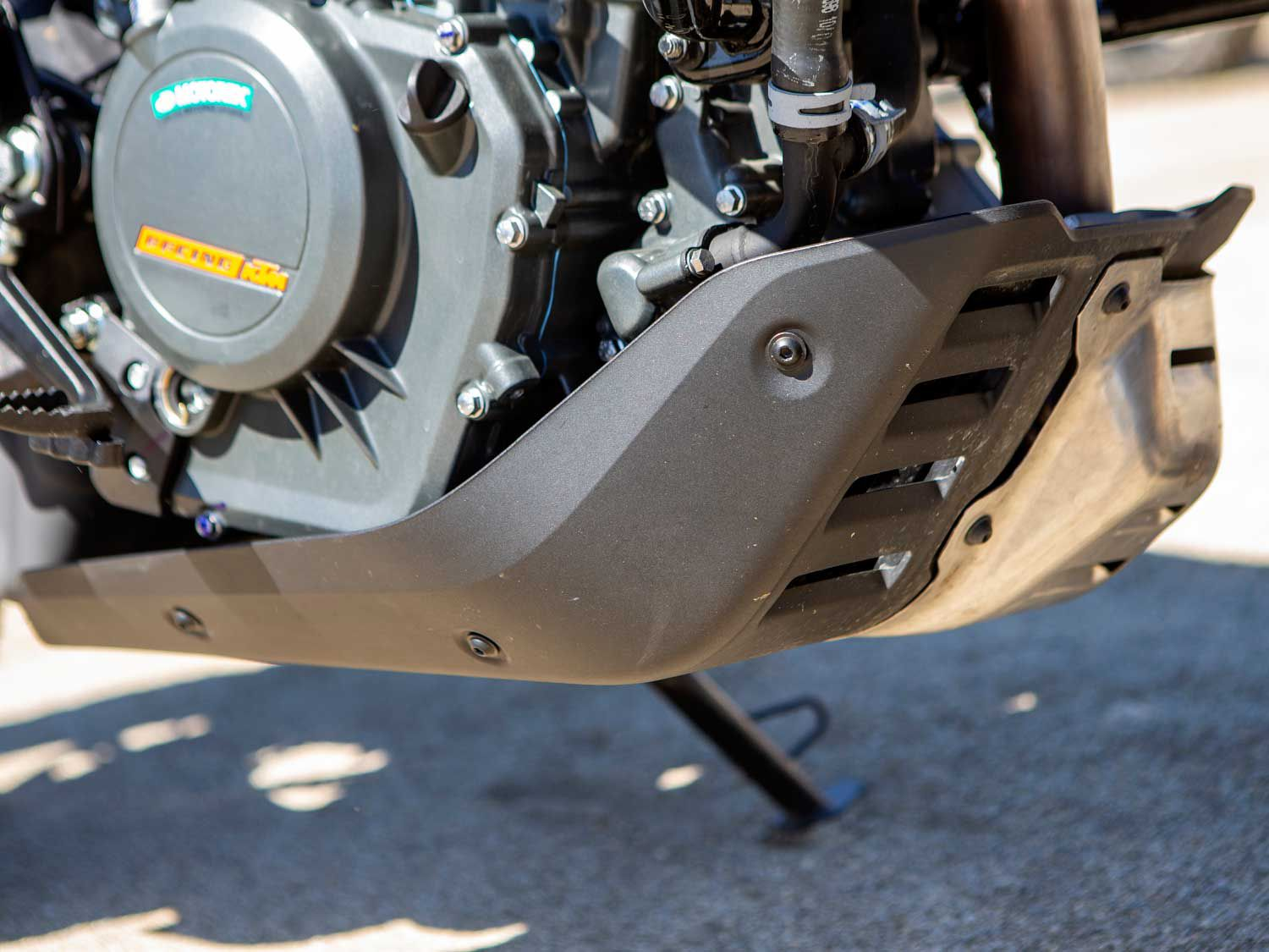 KTM's 390 Adventure comes with basic engine protection. Crashbars and hand guards are also standard.
