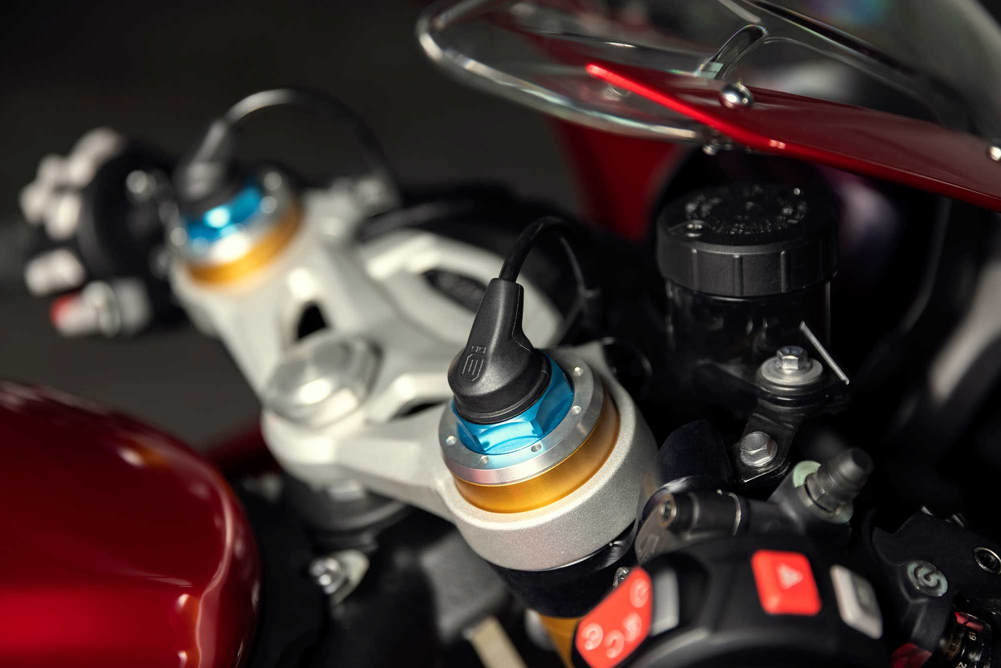 Fully adjustable, electronic Öhlins suspension is one of the major enhancements on the RR.